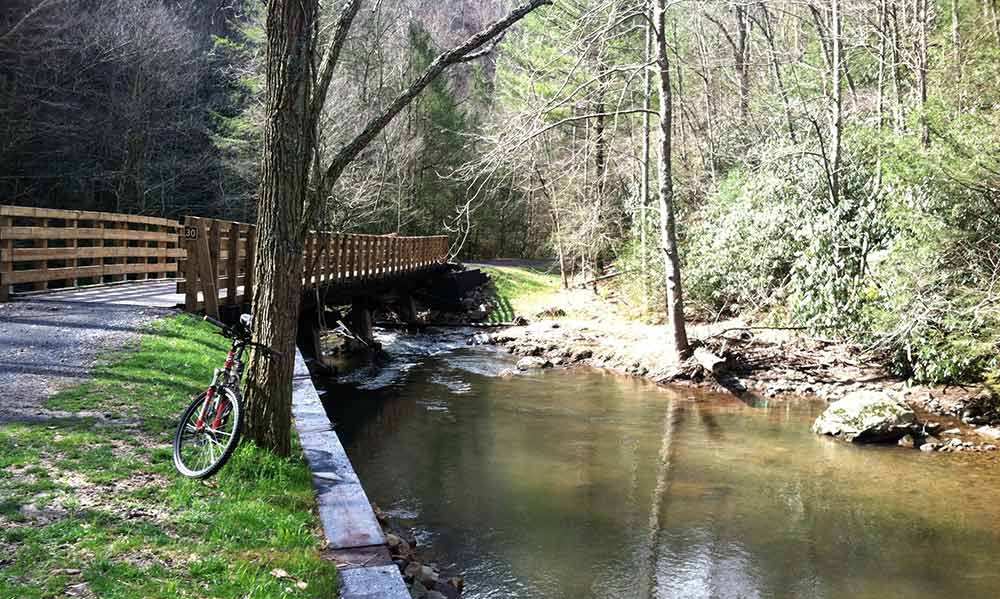 Creeper Trail Bridge in summer